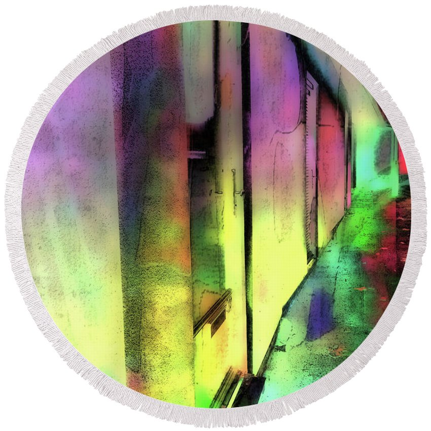 Abstact Round Beach Towel featuring the photograph City Street Abstract by Tom Gowanlock