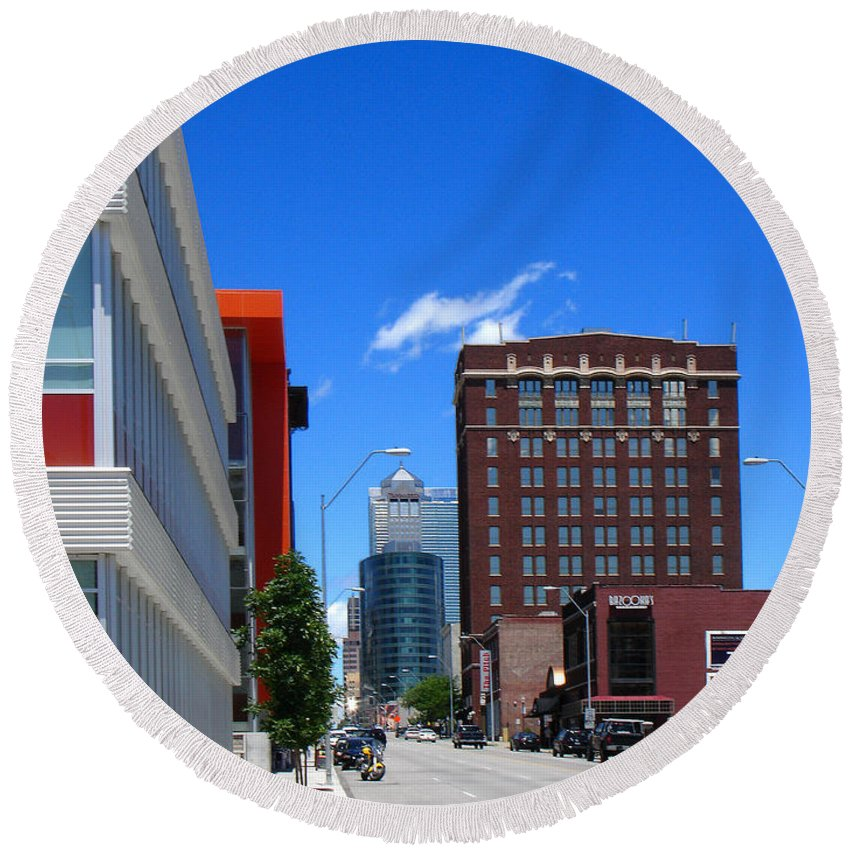 Kansas City Round Beach Towel featuring the photograph City Street by Steve Karol
