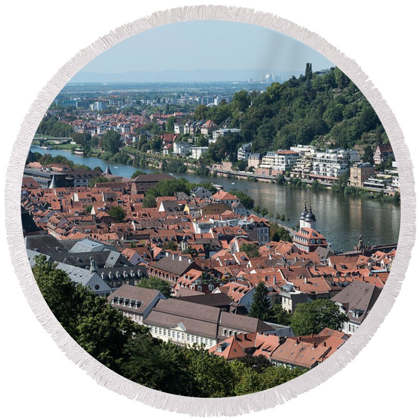 Heidelberg Round Beach Towel featuring the photograph Cityscape Of Heidelberg In Germany by Michalakis Ppalis