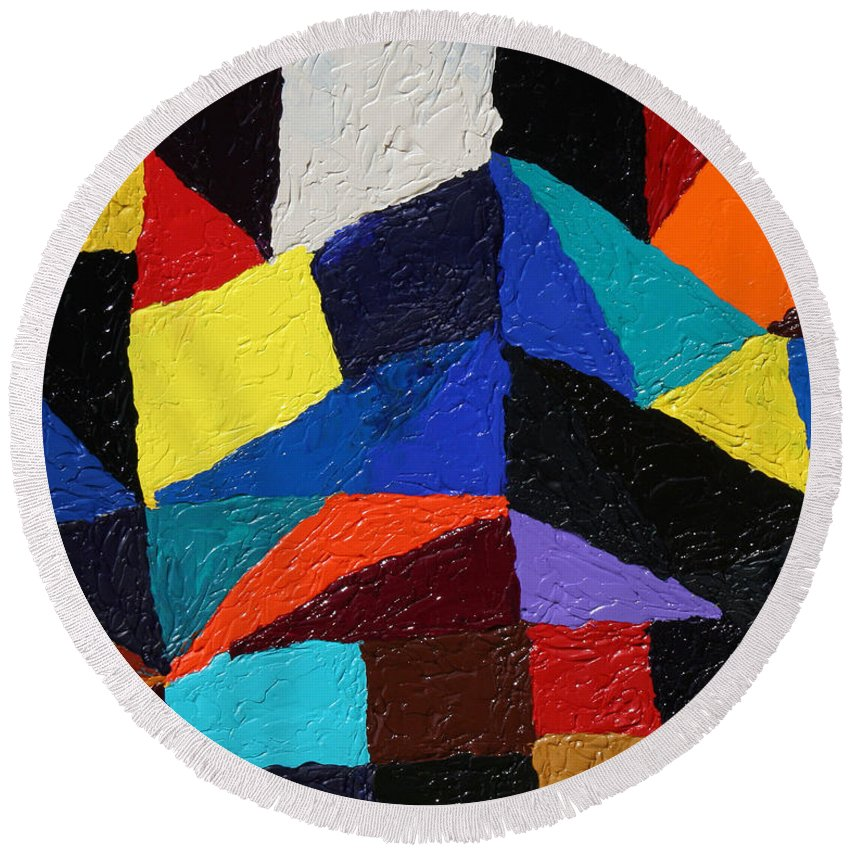 Fusionart Round Beach Towel featuring the painting Cityscape by Ralph White