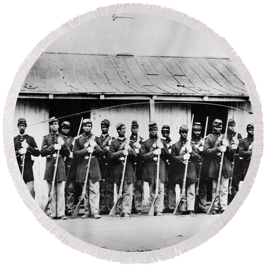 1860s Round Beach Towel featuring the photograph Civil War: Black Troops by Granger
