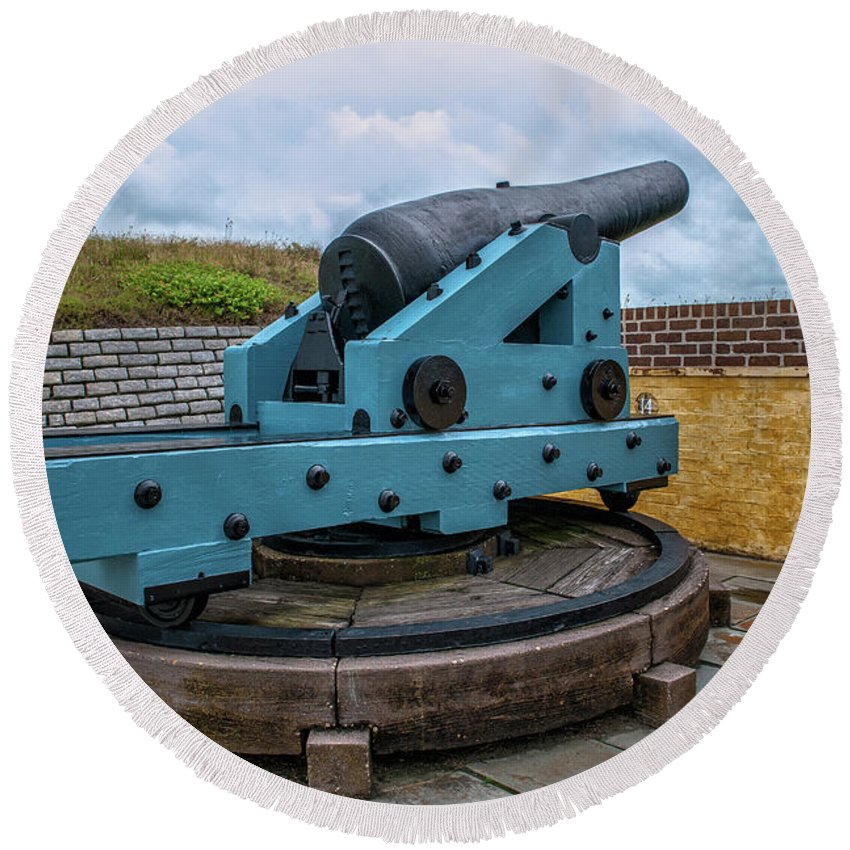 Cannon Round Beach Towel featuring the photograph Civil War Cannon by Dale Powell