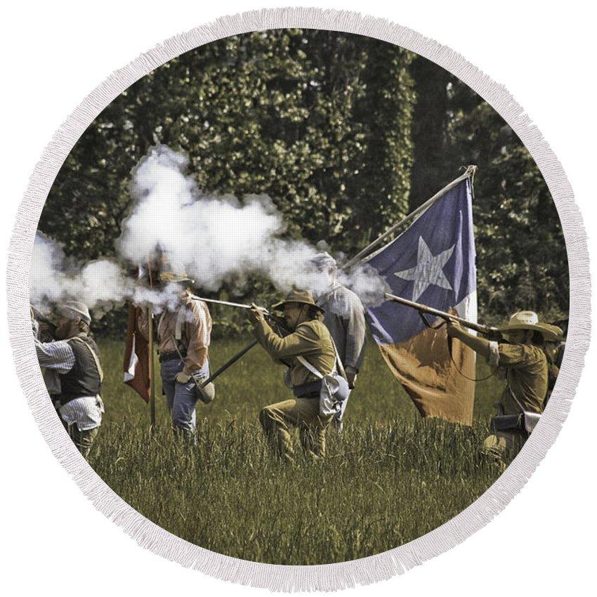 Civil War Re-enactment Round Beach Towel featuring the photograph Civil War Re-enactment by Kim Henderson