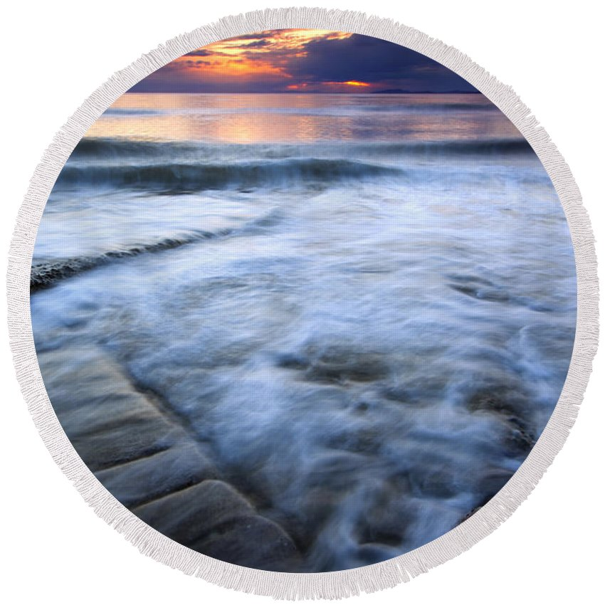 Tides Round Beach Towel featuring the photograph Civilization Forgotten by Mike Dawson