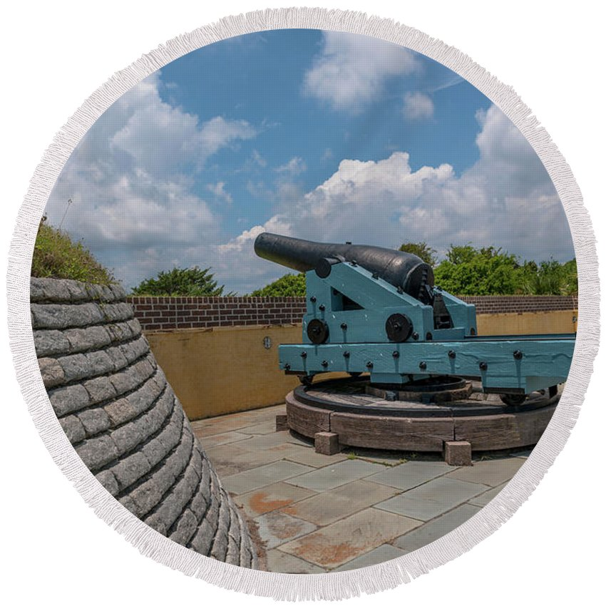 Fort Moultrie Round Beach Towel featuring the photograph Civl War Reaper by Dale Powell