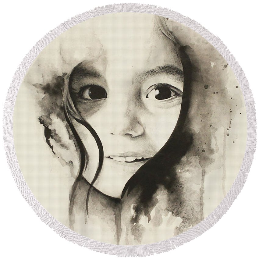 Girl Round Beach Towel featuring the painting Claire Black And White by Marc Brawner