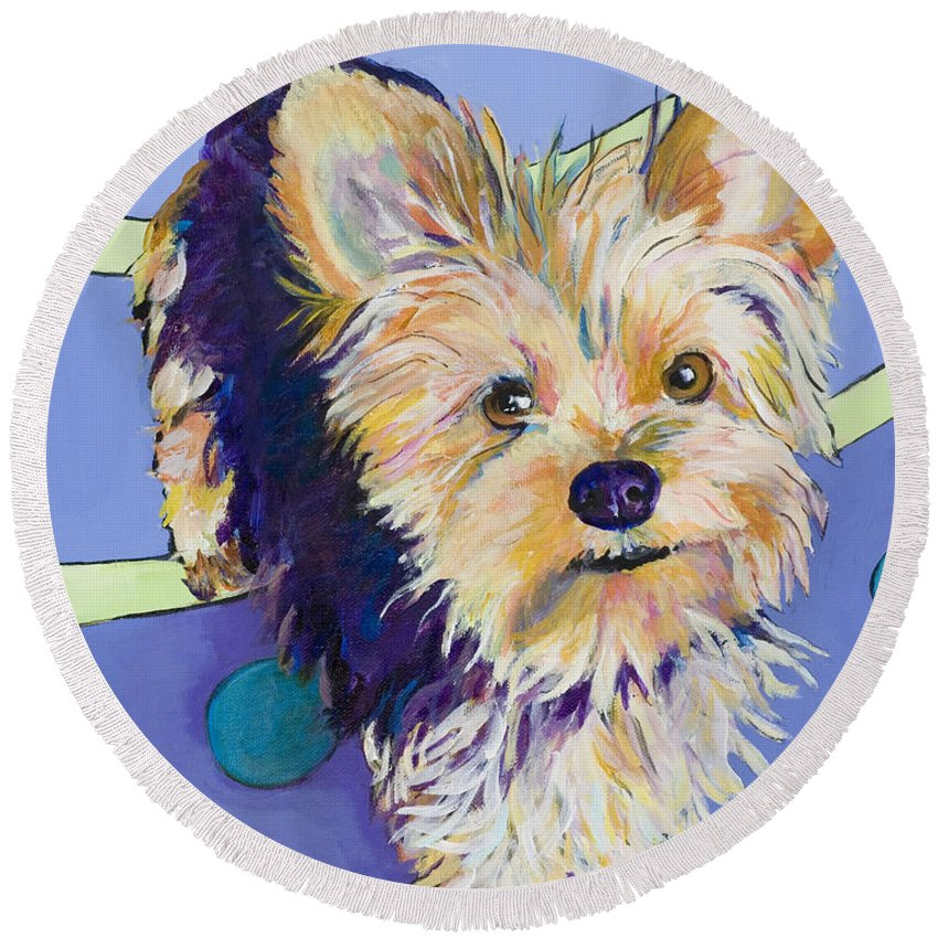 Pet Portraits Round Beach Towel featuring the painting Claire by Pat Saunders-White