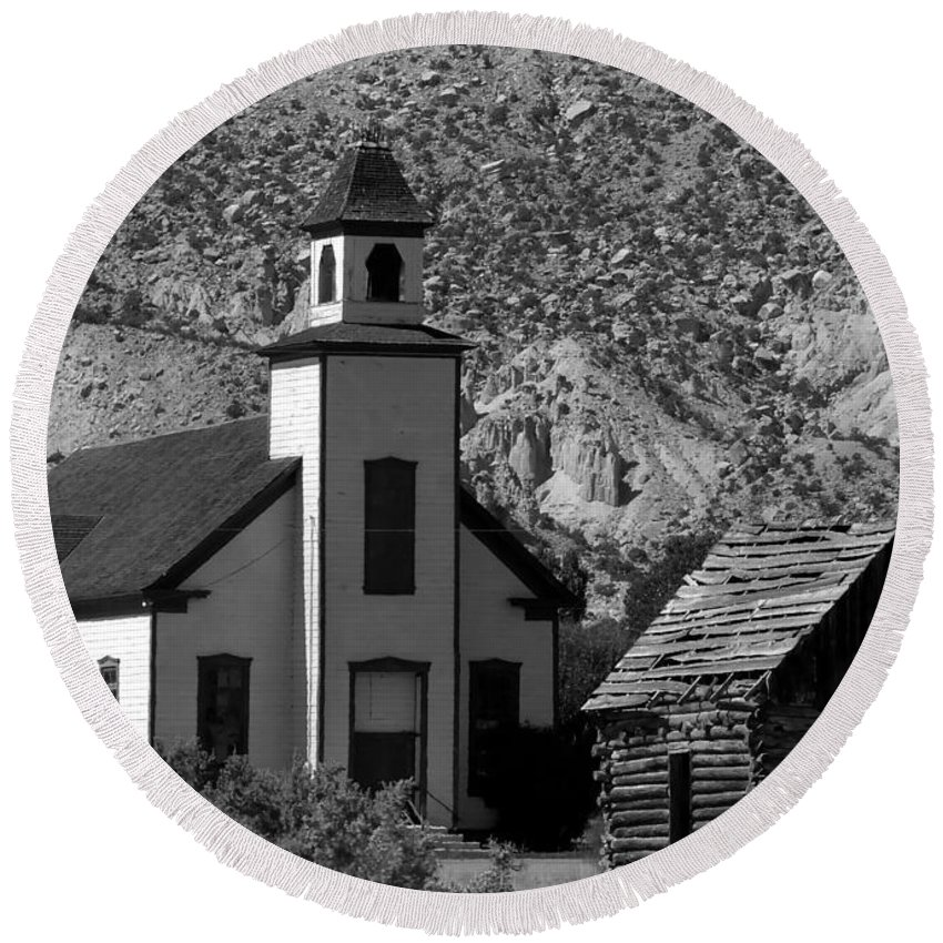 Mormon Round Beach Towel featuring the photograph Clapboard Church 1898 by David Lee Thompson