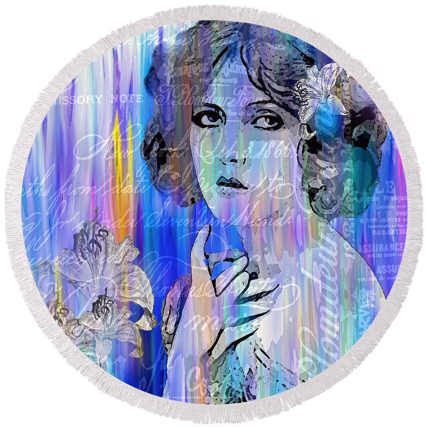 Clara Bow Round Beach Towel featuring the painting Clara Bow I'll See You In New York by Saundra Myles