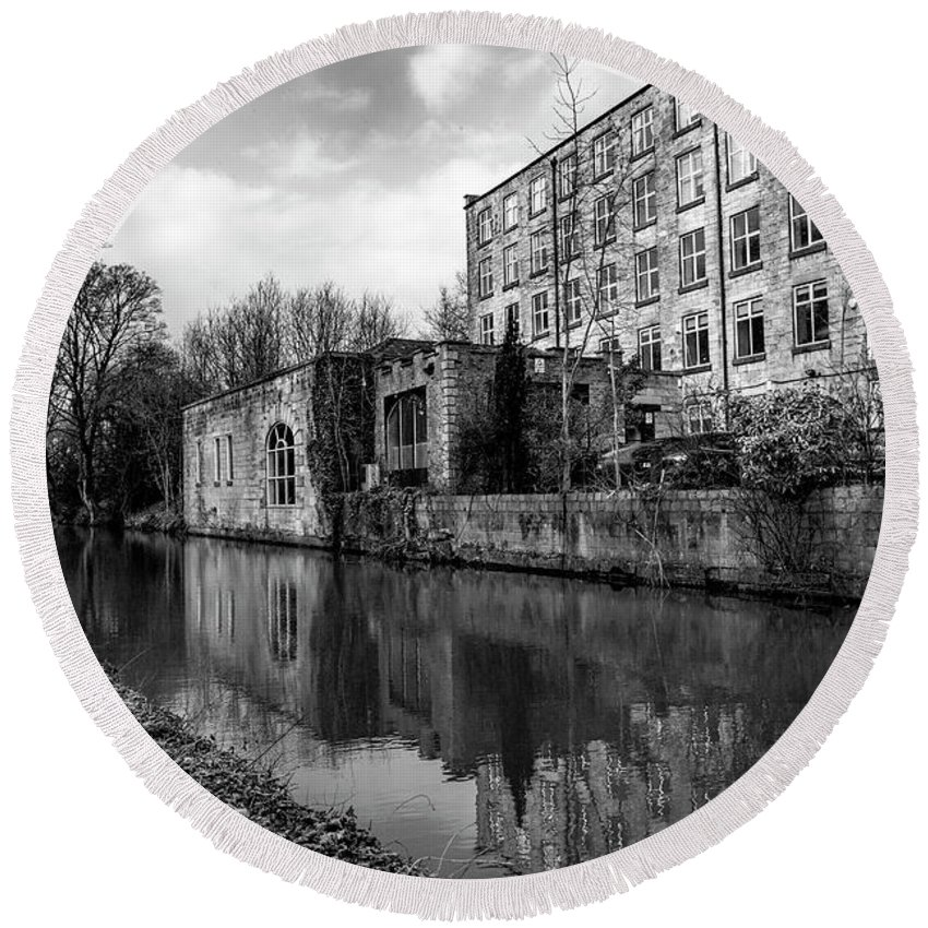 Reflections Round Beach Towel featuring the photograph Clarence Mill, Bollington, England by Mickey Stellavato