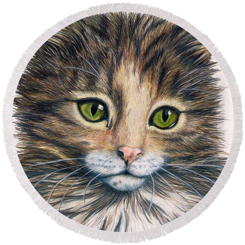 Cat Round Beach Towel featuring the drawing Clarice by Kristen Wesch