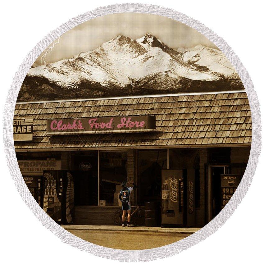 Hygiene Round Beach Towel featuring the photograph Clarks Old General Store by James BO Insogna
