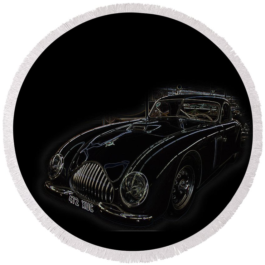 Classic Car Antique Show Room Vehicle Glowing Edge Black Light Chevy Dodge Ford Ride Round Beach Towel featuring the photograph Classic 2 by Andrea Lawrence