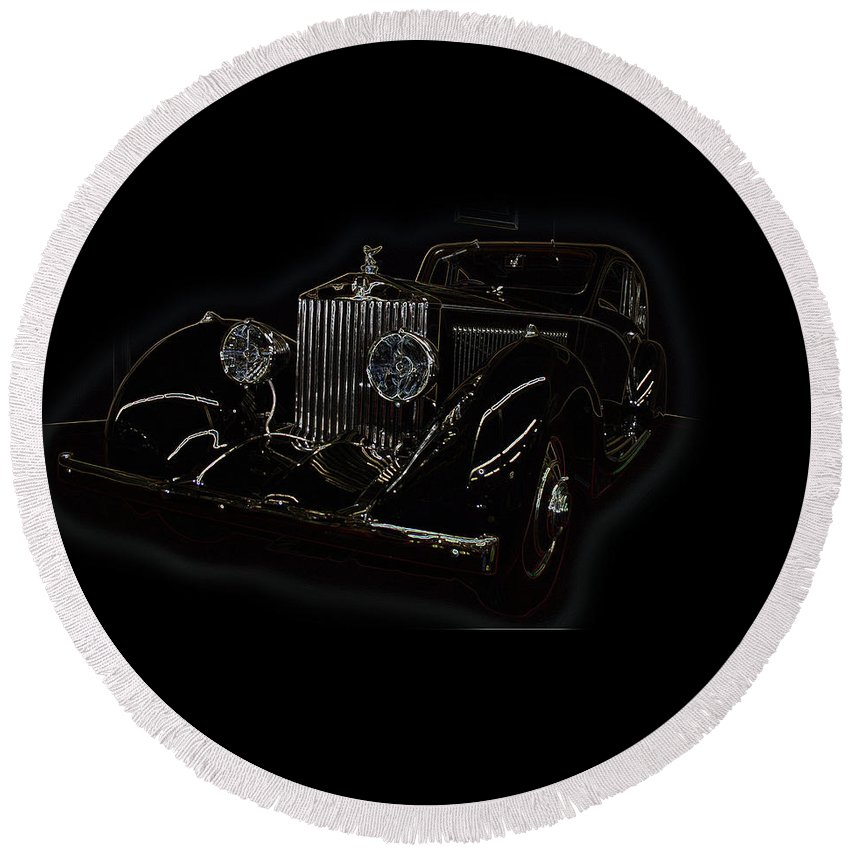 Classic Car Antique Show Room Vehicle Glowing Edge Black Light Chevy Dodge Ford Ride Round Beach Towel featuring the photograph Classic 3 by Andrea Lawrence