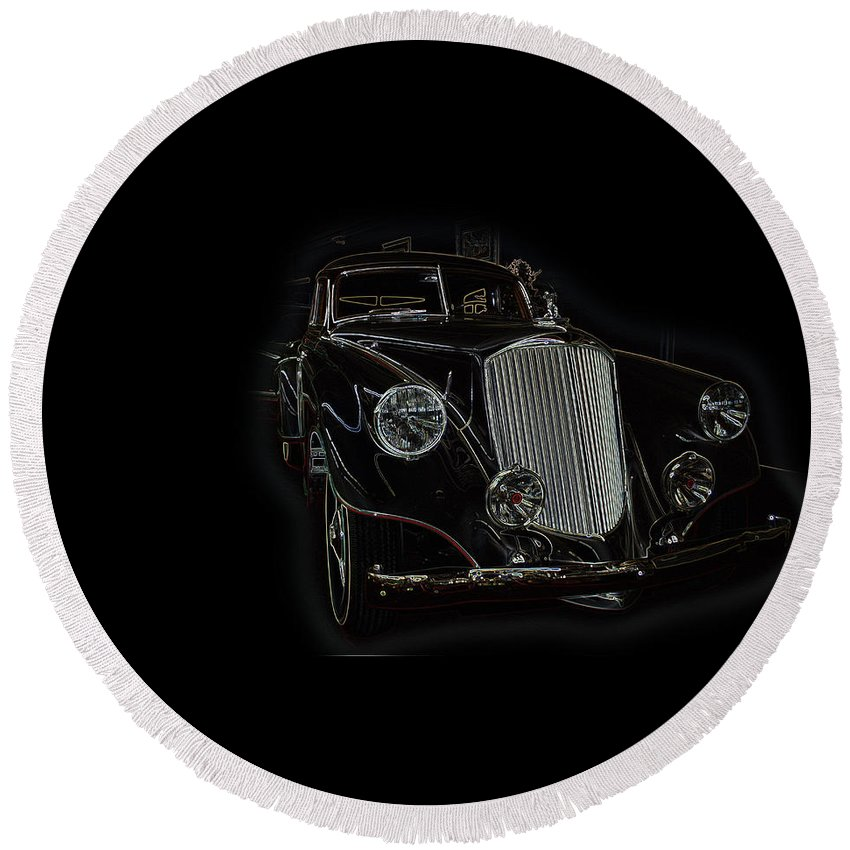 Classic Car Antique Show Room Vehicle Glowing Edge Black Light Chevy Dodge Ford Ride Round Beach Towel featuring the photograph Classic 4 by Andrea Lawrence