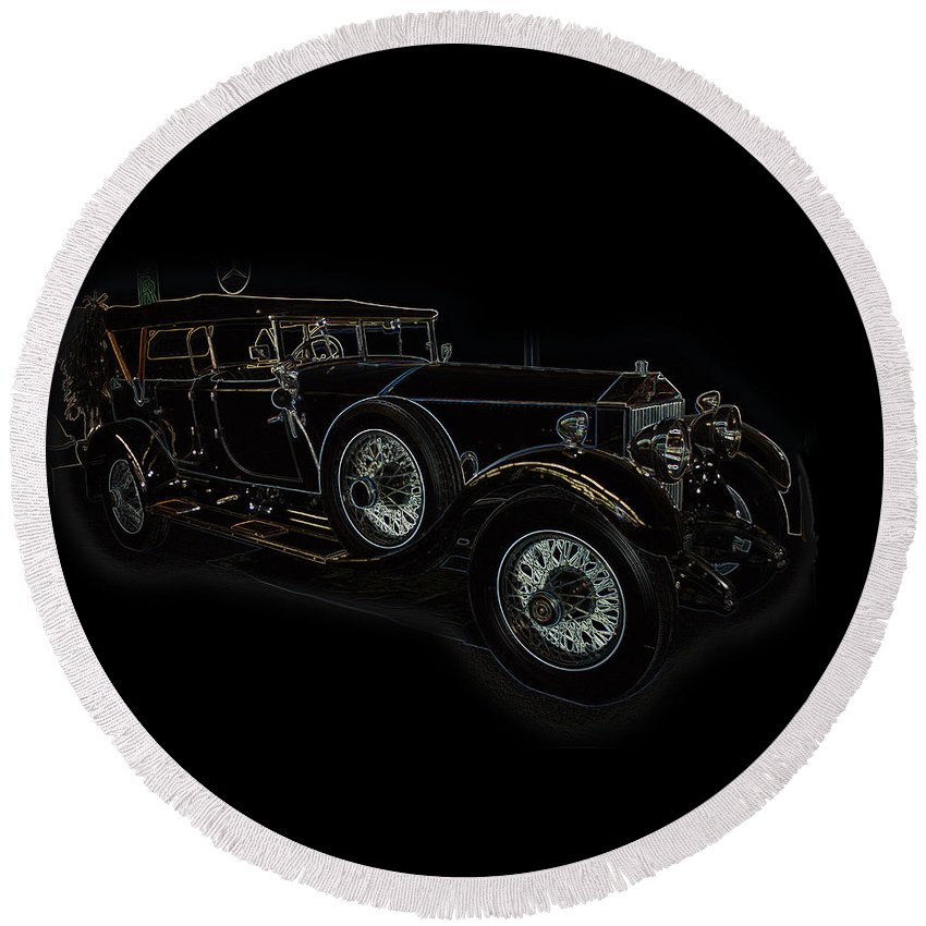 Classic Car Antique Show Room Vehicle Glowing Edge Black Light Chevy Dodge Ford Ride Round Beach Towel featuring the photograph Classic 5 by Andrea Lawrence