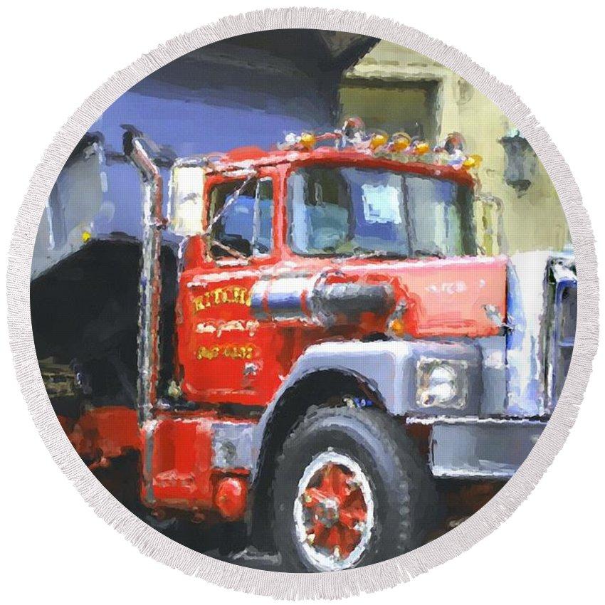 Brockway Round Beach Towel featuring the photograph Classic Brockway Dump Truck by David Lane