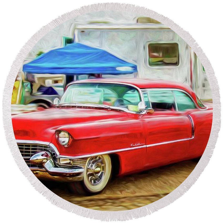 Warrena J. Barnerd Round Beach Towel featuring the photograph Classic Cadillac by Warrena J Barnerd