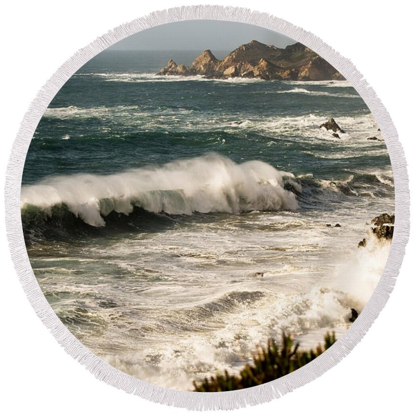 Costal Round Beach Towel featuring the photograph Classic California Surf by Norman Andrus