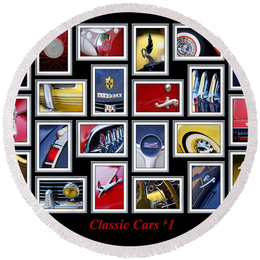 Classic Cars Round Beach Towel featuring the photograph Classic Car Montage Art 1 by Jill Reger