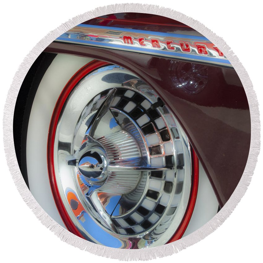 Hub Cap Round Beach Towel featuring the photograph Classic Cars Mercury by Bob Christopher
