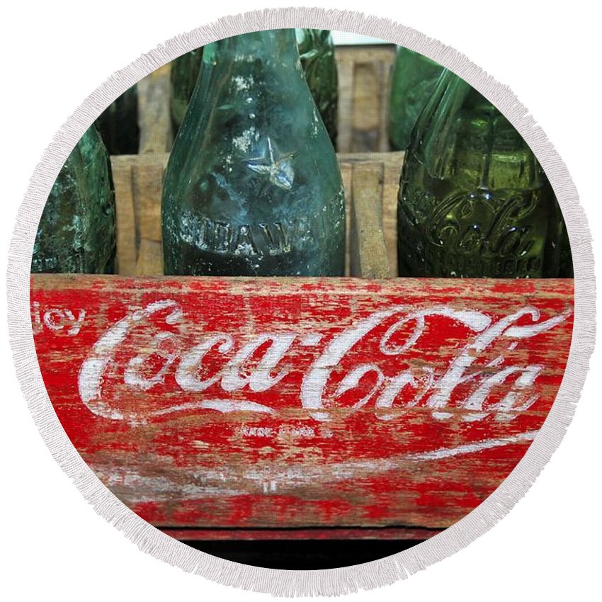 Fine Art Photography Round Beach Towel featuring the photograph Classic Coke by David Lee Thompson