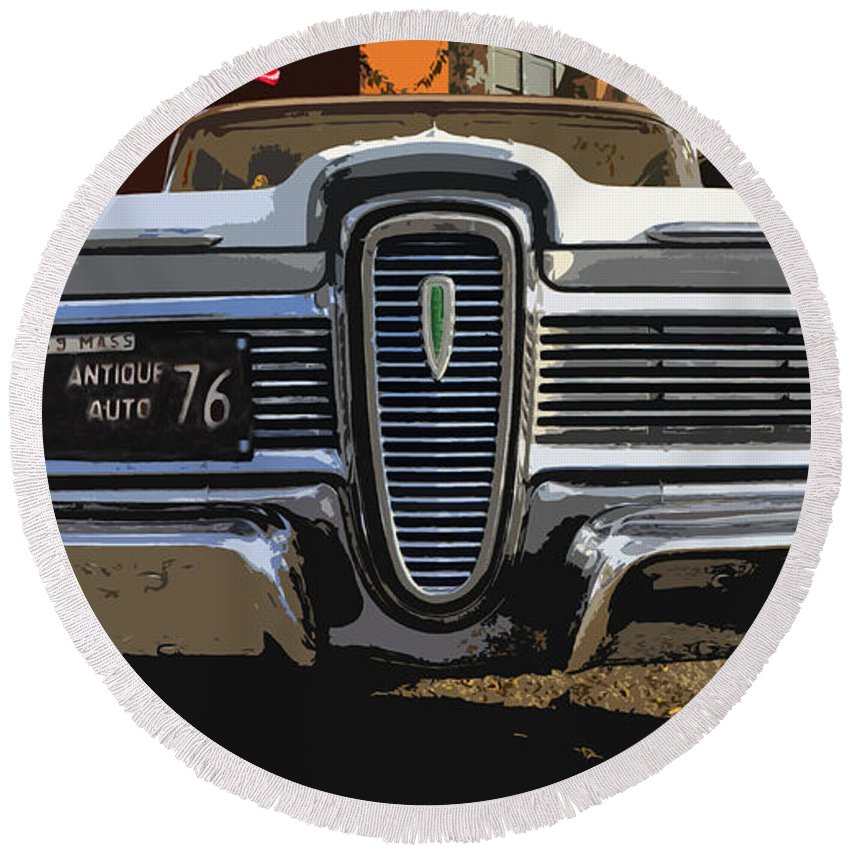 Edsel Round Beach Towel featuring the painting Classic Edsel by David Lee Thompson
