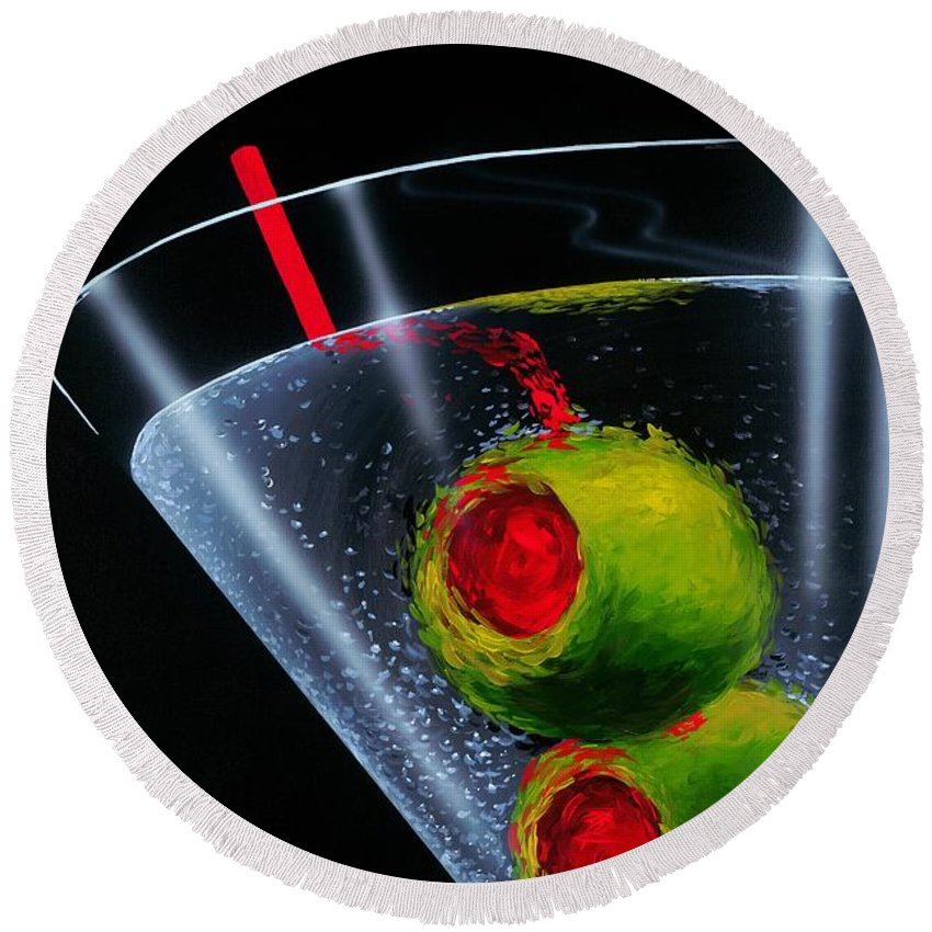 Martini Round Beach Towel featuring the painting Classic Martini by Michael Godard