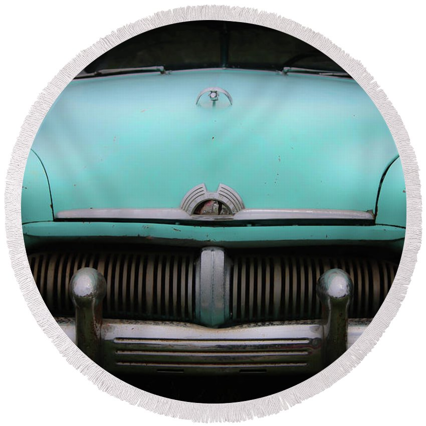 Mercury Round Beach Towel featuring the photograph Classic Mercury by Veronica Batterson