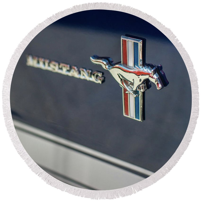 Chevy Round Beach Towel featuring the photograph Classic Mustang Logo Closeup by Mike Reid