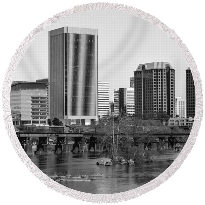 Richmond Round Beach Towel featuring the photograph Classic Rva by Aaron Dishner