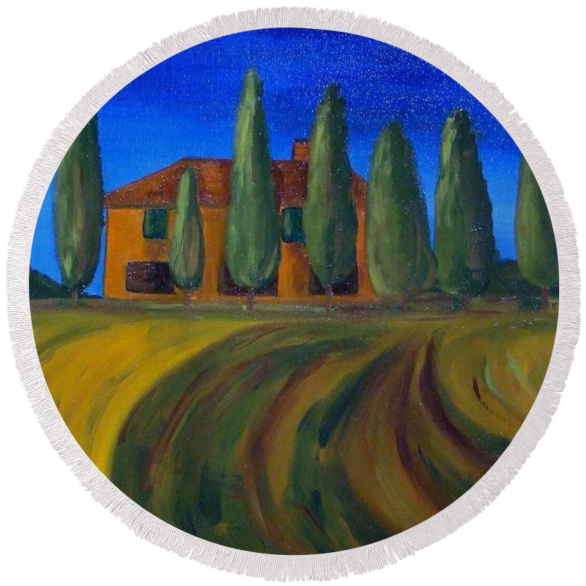 Tuscany Round Beach Towel featuring the painting Classic Tuscan Sunset by Laurie Morgan