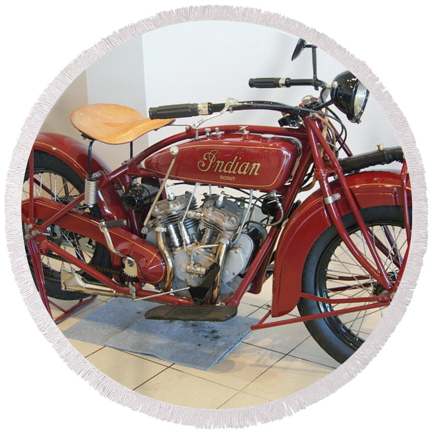 Indian Round Beach Towel featuring the photograph Classic Vintage Indian Motorcycle Red  # by Rob Luzier
