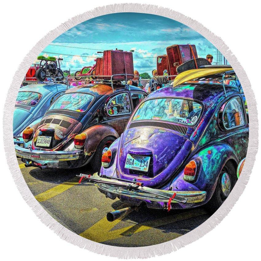 Classic Volkswagen Beetle Round Beach Towel featuring the digital art Classic Volkswagen Beetle - Old Vw Bug by Rebecca Korpita