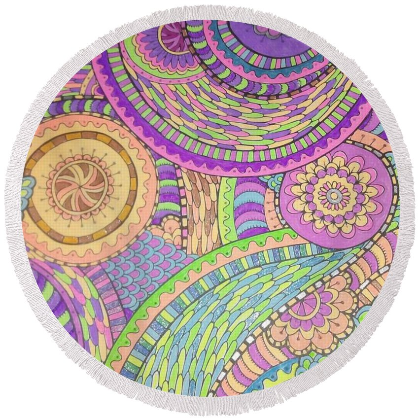 Pastels Round Beach Towel featuring the drawing Classy Paisley by FN Nelson