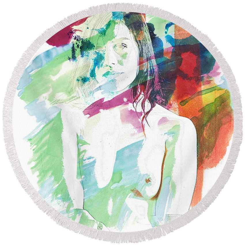 Claudia Round Beach Towel featuring the painting Claudia Nude Fine Art Painting Print In Sensual Sexy Color 4887. by Kendree Miller