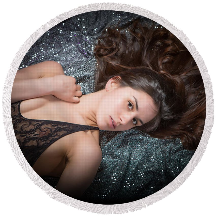 Claudia Round Beach Towel featuring the photograph Claudia Nude Fine Art Print In Sensual Sexy Color 4884.02 by Kendree Miller