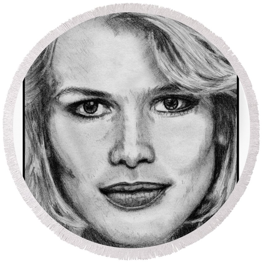 Claudia Schiffer Round Beach Towel featuring the drawing Claudia Schiffer In 1992 by J McCombie