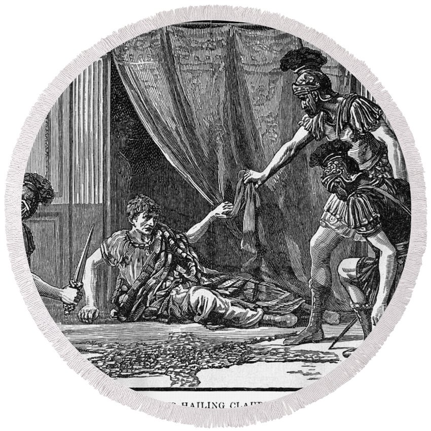 1st Century Round Beach Towel featuring the photograph Claudius And Guards by Granger