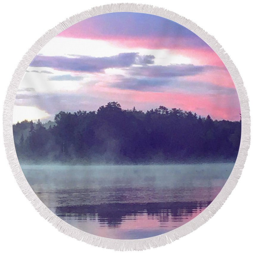 Landscape Round Beach Towel featuring the photograph Clay Lake Sunrise by Vincent Davis