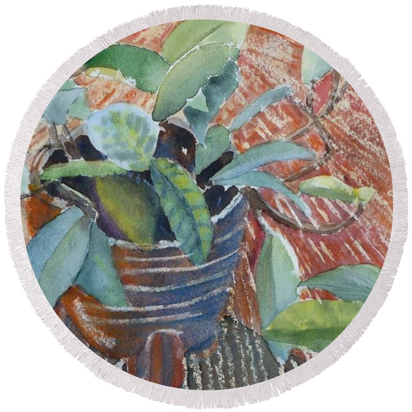 Vine Round Beach Towel featuring the painting Clay Pot by Ruth Kamenev