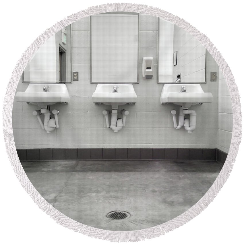 Bathroom Round Beach Towel featuring the photograph Clean Simple Public Washroom Sinks Mirrors by Stephan Pietzko