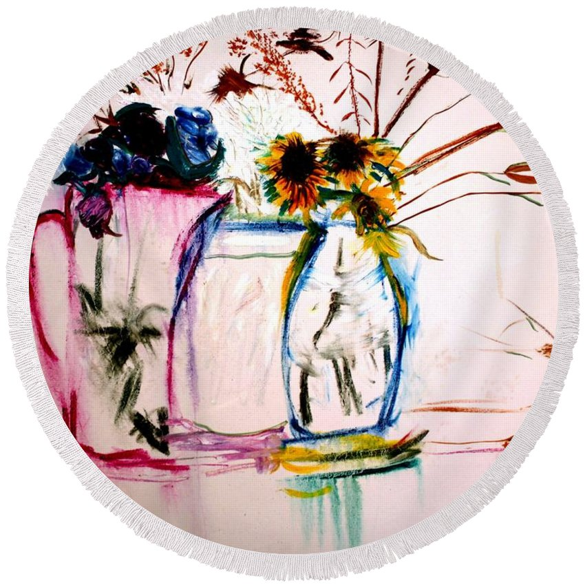 Still Life Round Beach Towel featuring the painting Clear by Jack Diamond