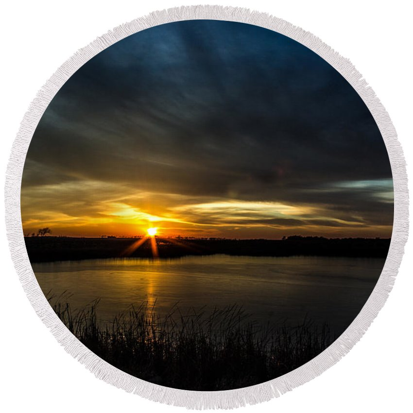 Redlin Round Beach Towel featuring the photograph Clear Lake Sunset by AllScapes Photography