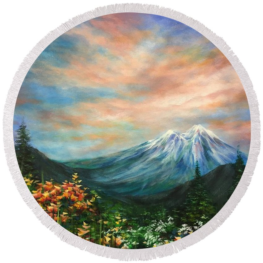 Landscape Round Beach Towel featuring the painting Clear Mind by Vesna Delevska
