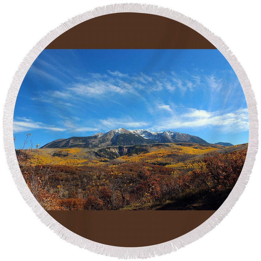 Mountain Round Beach Towel featuring the photograph Clear Skies by Samantha Burrow
