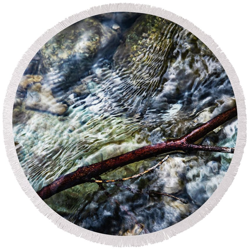 Reflection Round Beach Towel featuring the photograph Clear Water Level With Twigs by Jozef Jankola