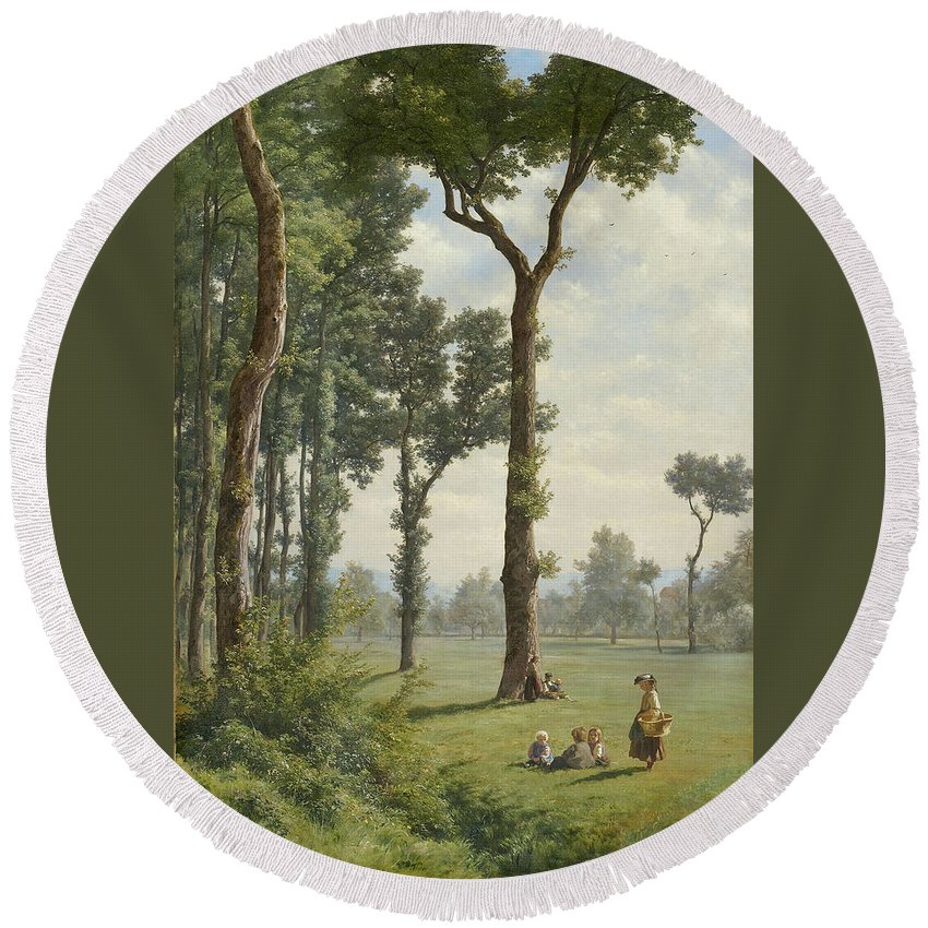 Robert Zuend Round Beach Towel featuring the painting Clearance In An Oak Forest by Robert Zuend