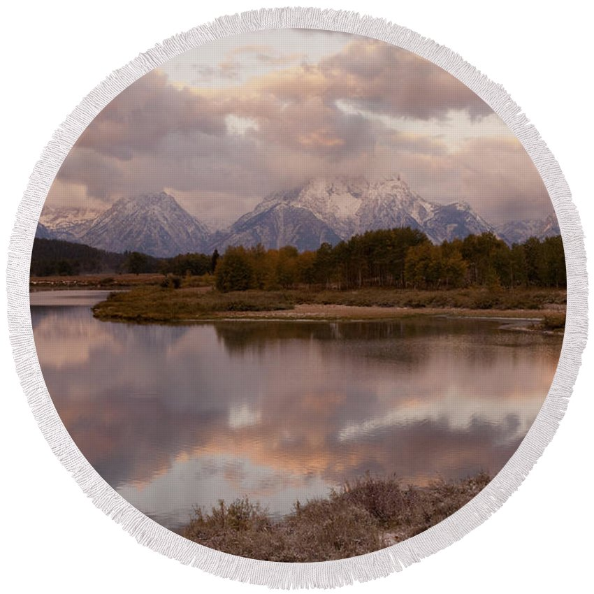 Grand Teton Round Beach Towel featuring the photograph Clearing Storm At Oxbow Bend by Sandra Bronstein