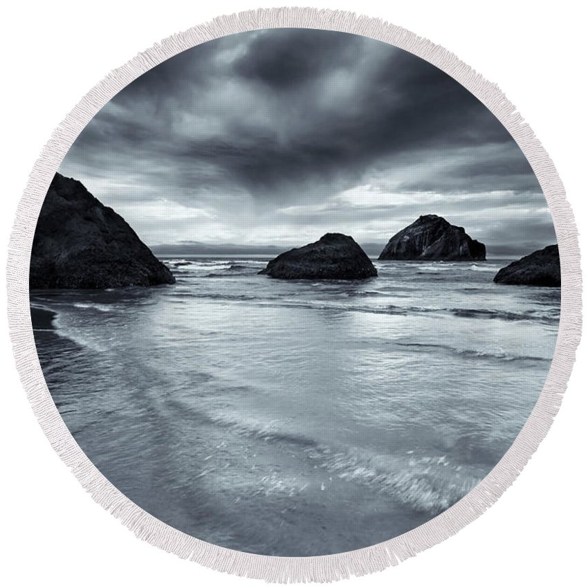 Beach Round Beach Towel featuring the photograph Clearing Storm by Mike Dawson
